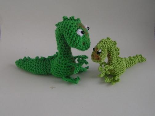 Häkelanleitung Amigurumi Dino/Drache Mutter und Kind