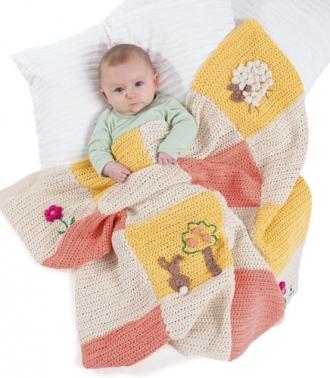 Häkelanleitung für Babydecke Sunagawa