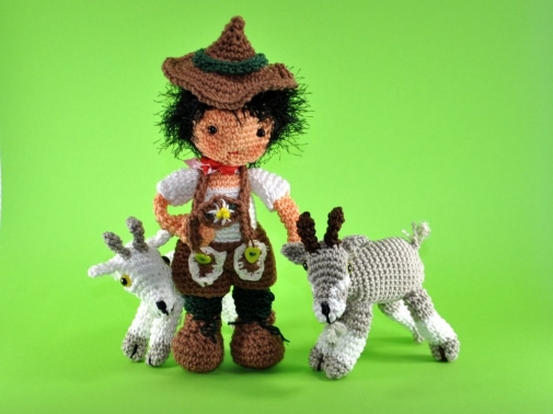 Puppe Peter mit seinen Ziegen Amigurumi