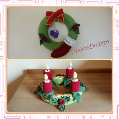 Häkelanleitung Weihnachtsset - Adventskranz + Türkranz
