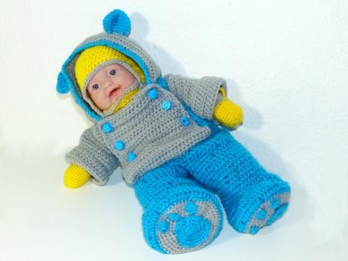Häkelanleitung Schneeanzug für 35cm Puppen