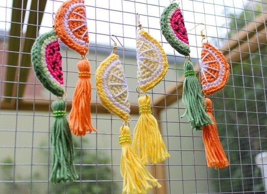 Ohrringe gehäkelt - Melone, Zitrone und Orange