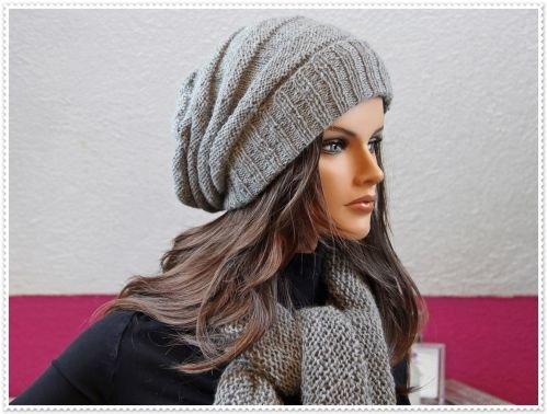 Slouchy-Mütze mit Schal - Strickanleitung