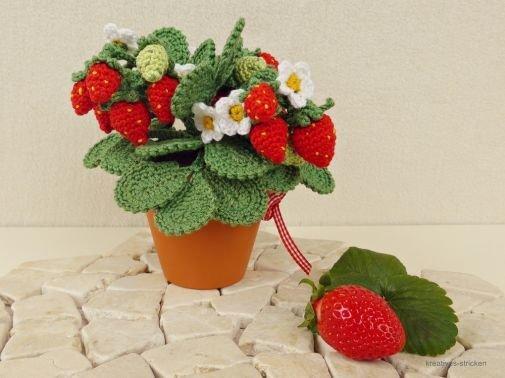 Häkelanleitung Erdbeerpflanze