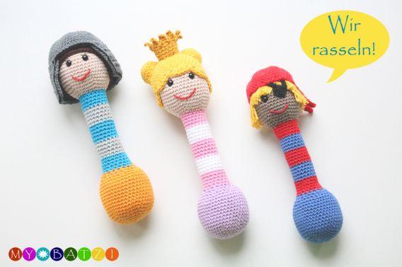Rasseln für Babys häkeln - Ritter + Prinzessin + Pirat
