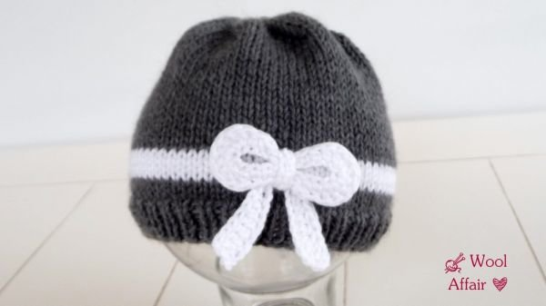 (56) Strickanleitung Baby Mütze mit süßer Schleife