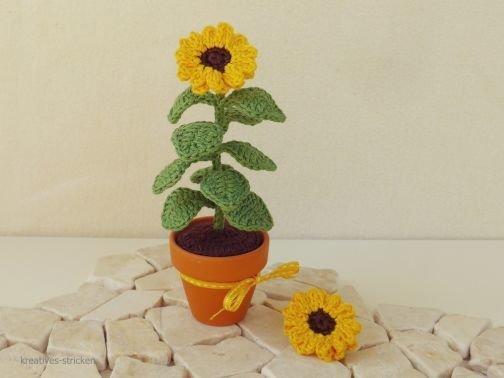 Häkelanleitung Sonnenblume im Topf