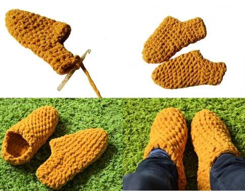 Hausschuhe häkeln, Häkelanleitung Socken, Bettschuhe