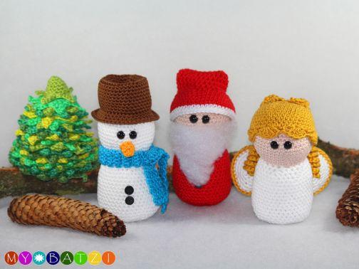 Schneemann - Weihnachtsmann - Engel - Weihnachtsbaum