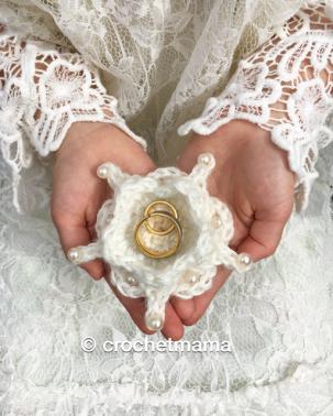 Häkelanleitung Ringkissen / Blütenschale Hochzeit Taufe