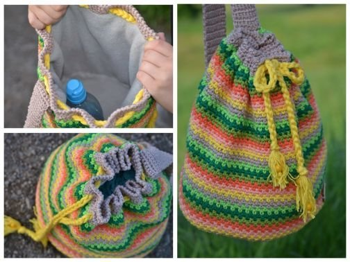 Crochet Backpack Purse Keychain - Free Pattern [Video] #crochet ... | 378x504