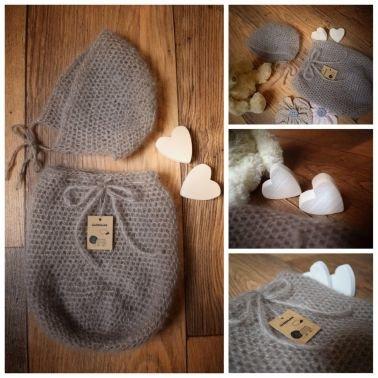 Baby Set - Neugeborenen Fotografie - Haube und Pucksack