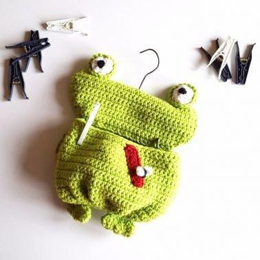 Wäscheklammer Beutel Frosch, Klammersack, Kissen Frosch