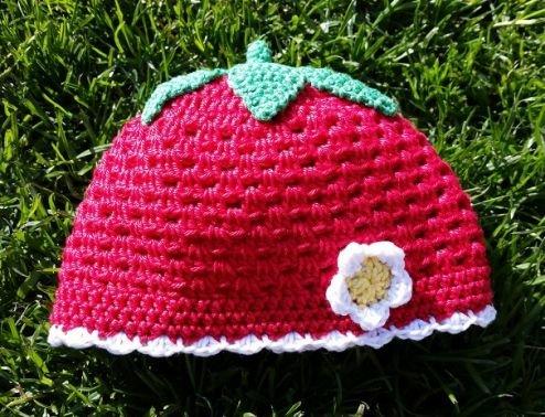 Sommermütze Erdbeere - alle Größen