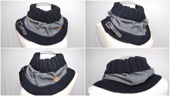 Loop mit Lederschließe  aus dem Webschal von myboshi