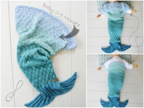 Strickanleitung BabyDecke Meerjungfrau