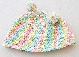 Häkelanleitung Einfache Babymütze in pastell für Kopfumfang 36/38