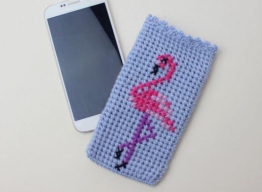 Handytasche gehäkelt mit Flamingo