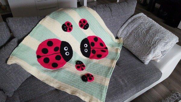 Häkelanleitung Babydecke Krabbeldecke Marienkäfer