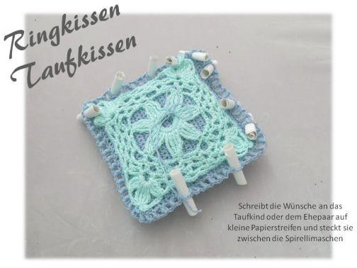 Kissen Taufe und Hochzeit, Ringkissen, Wunschkissen Design B