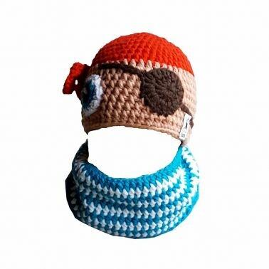Mütze Pirat mit angehäkeltem Schal