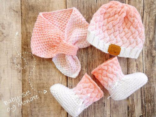 Strickanleitung - Babyset Mütze Schuhe Schal -OMBRÉ- No.163S