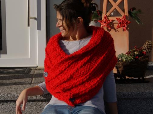 Poncho - Schal Red (mit Zopfmuster)