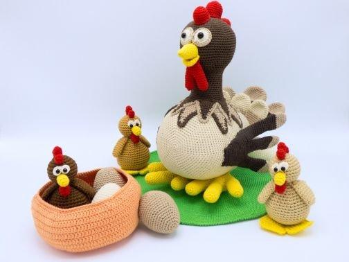 Häkelanleitung: Set Henne Berta und Hühnchen
