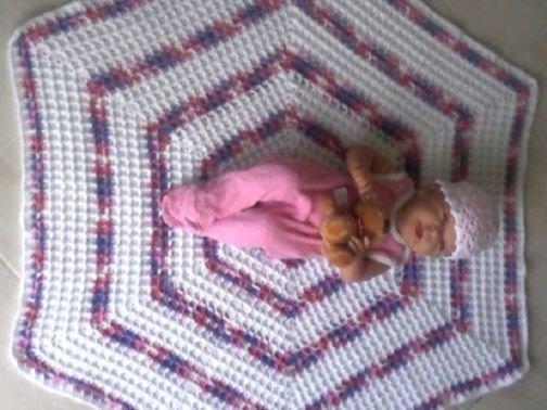 "Häkelanleitung Babydecke ""Hexagon"""