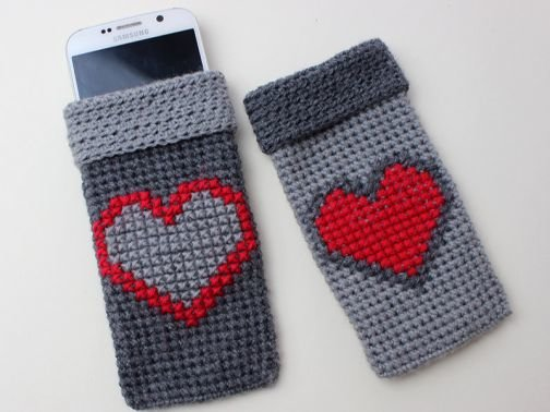 Handytäschchen mit Herz - Häkelanleitung