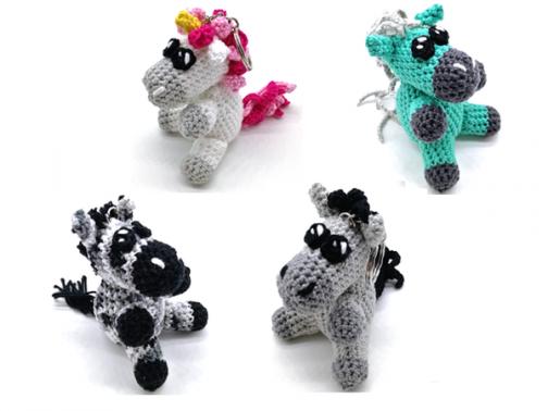 Pony, Esel, Zebra und Einhorn
