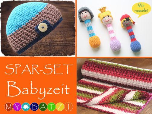Sparset BABYZEIT - Mütze, Decke und Rasseln
