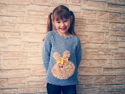 Basic Pullover für Groß und Klein + Applikation Häschen