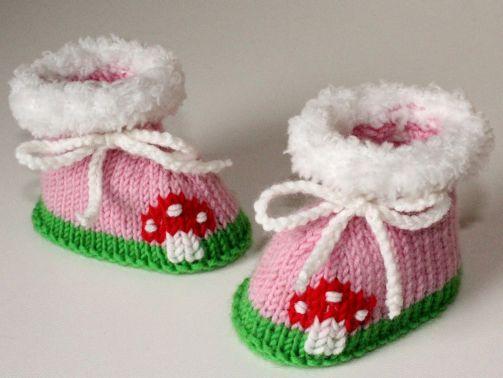 Strickanleitung Baby-Schuhe, Booties Fliegenpilz