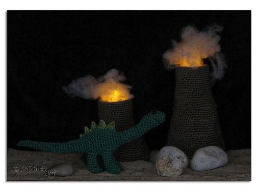 Häkelanleitung Dinosaurier und Vulkane