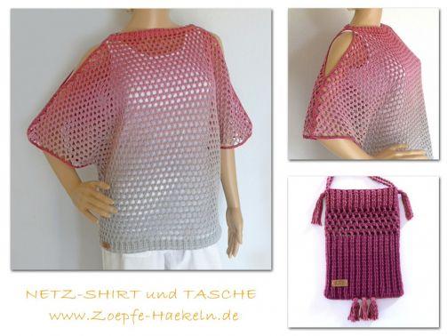 Mod. 032 - Shirt mit Tasche mit Zopfmuster im Lacestil