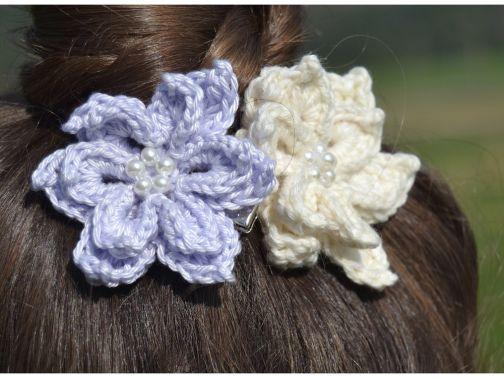 + BLOOSOM + Haarblüte häkeln, Haarschmuck, Brautschmuck