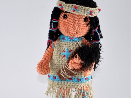 Native American girl with baby