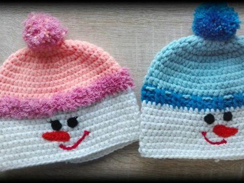 Mütze kleiner Schneemann für Babys / Kinder