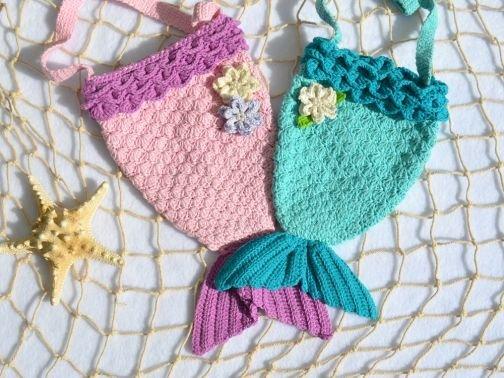 + MEERIA + Meerjungfrauentasche häkeln, Kindertasche