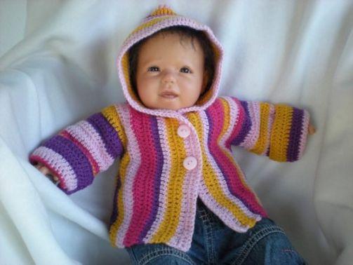 Häkelanleitung Babyjacke mit Kapuze