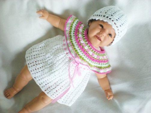 Häkelanleitung Babykleid mit Rundpasse