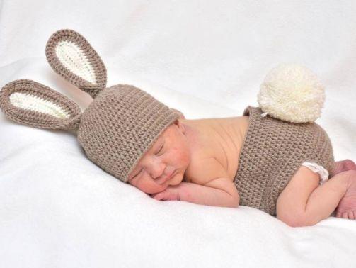 Neugeborenen Baby Kostüm Hase Fotoshooting Ostern