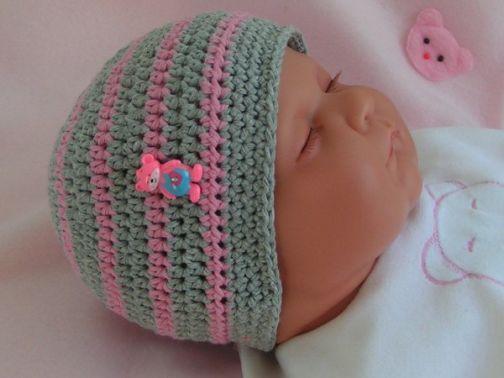 Häkelanleitung Babymütze mit Bärchen
