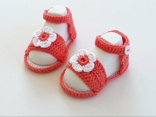 Häkelanleitung Babyschuhe - Sandalen mit Blume - No.20