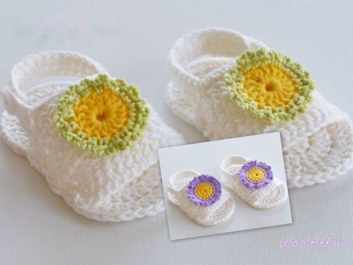 Babyschuhe Blüten-Sandale - Häkelanleitung Anfänger - No.1