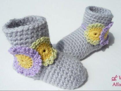 WoolAffair - Häkelanleitung für Baby Stiefelchen mit Blumen - No.63 ...