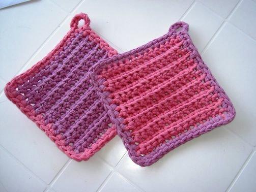 Häkelanleitung Topflappen aus Textilgarn