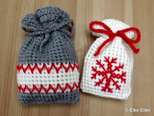 Geschenkbeute, Beutel, Weihnachtssäckchen - Schneekristall