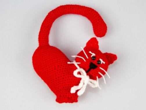 Häkeln Sie Herz Katze Valentinstag